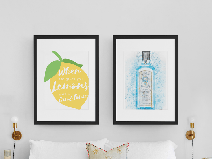 "Woolly Mammoth Media 16x12"" / Bombay Blue Gin Life Gives you Lemons Make Gin set of 2 wall art prints"