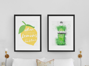 "Woolly Mammoth Media 16x12"" / London Green Gin Bottle Life Gives you Lemons Make Gin set of 2 wall art prints"
