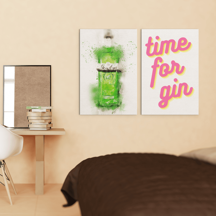 "Woolly Mammoth Media 16x12"" / London Green Gin Bottle Time for Gin set of 2 Wall Art Prints"