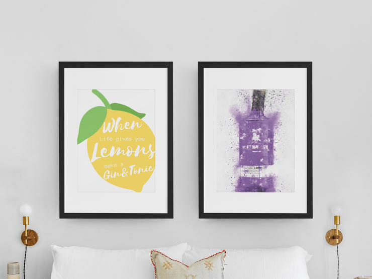 "Woolly Mammoth Media 16x12"" / Parma Violet Bottle Life Gives you Lemons Make Gin set of 2 wall art prints"