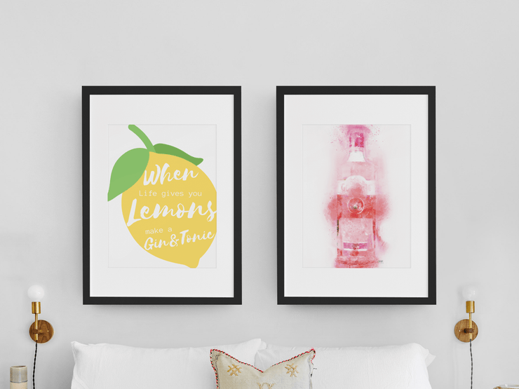 "Woolly Mammoth Media 16x12"" / Pink Gin Bottle Life Gives you Lemons Make Gin set of 2 wall art prints"