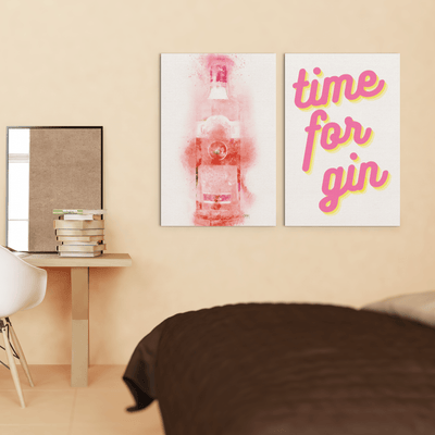 "Woolly Mammoth Media 16x12"" / Pink Gin Bottle Time for Gin set of 2 Wall Art Prints"