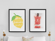 "Woolly Mammoth Media 16x12"" / Raspberry Red Gin Bottle Life Gives you Lemons Make Gin set of 2 wall art prints"
