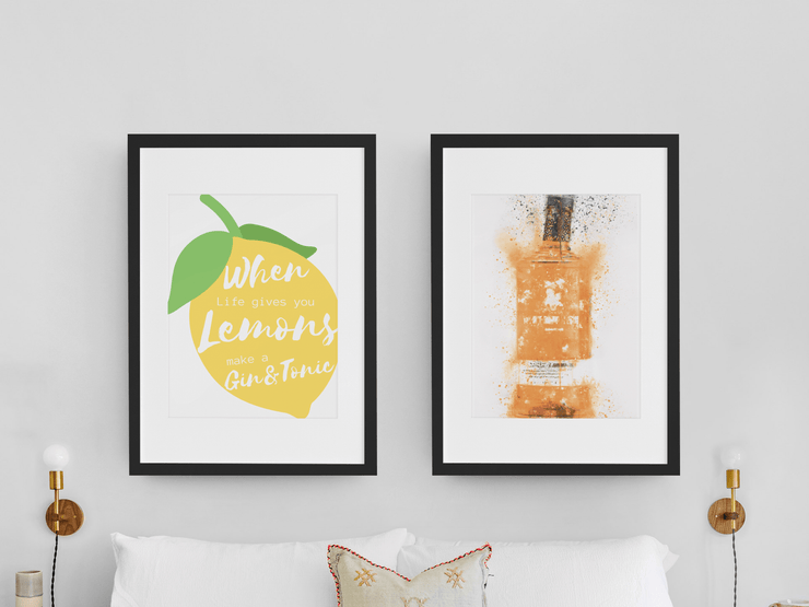 "Woolly Mammoth Media 16x12"" / Sicillian Blood Orange Gin Life Gives you Lemons Make Gin set of 2 wall art prints"