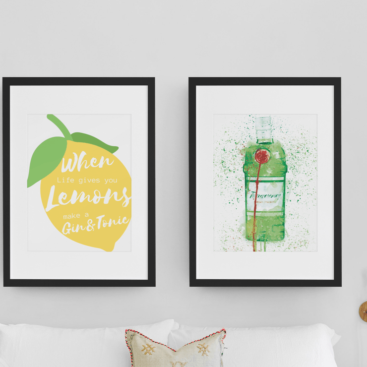 "Woolly Mammoth Media 16x12"" / Tanq Gin Life Gives you Lemons Make Gin set of 2 wall art prints"