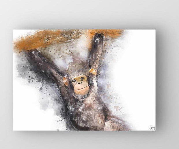 "Woolly Mammoth Media 30x20"" Canvas Charlie Chimp Monkey Wall Art Print"