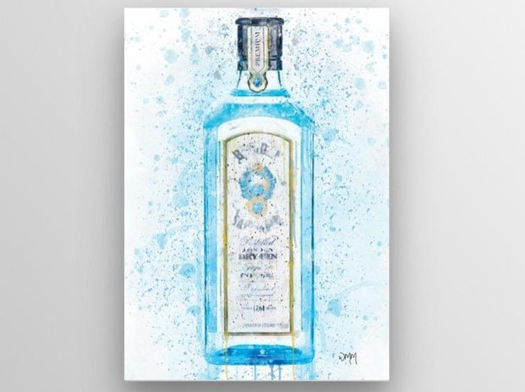 "Woolly Mammoth Media 30x20"" Canvas Gin Bottle Wall Art Print 'Bombay Blue' Splatter Art"