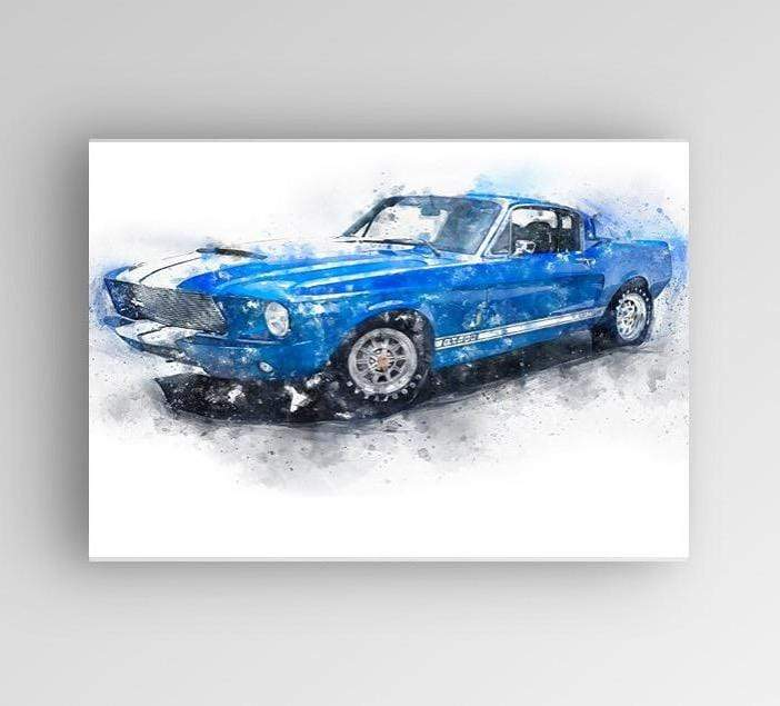 "Woolly Mammoth Media 30x20"" Canvas Mustang GT500 Wall Art Print Muscle Car Ford Shelby"