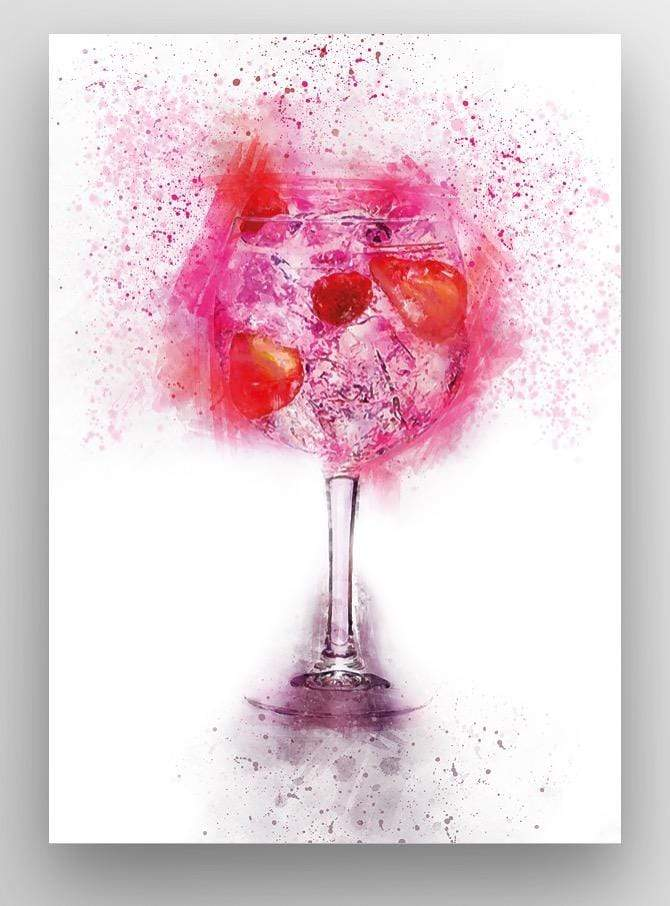 "Woolly Mammoth Media 30x20"" Canvas Pink Gin and Tonic Glass Wall Art"