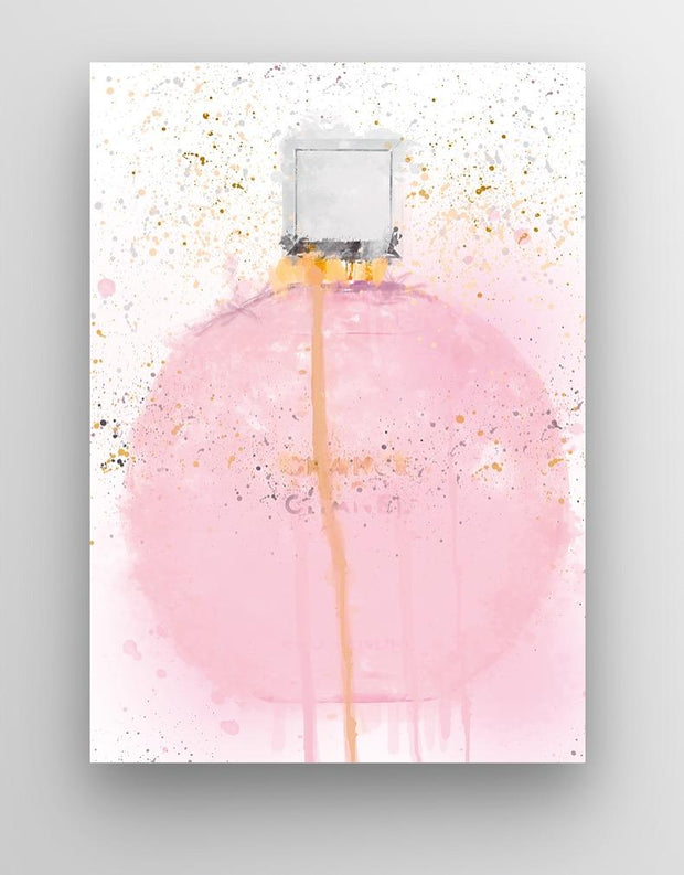 "Woolly Mammoth Media 30x20"" Canvas Pink Pastel Perfume Wall Art Print"