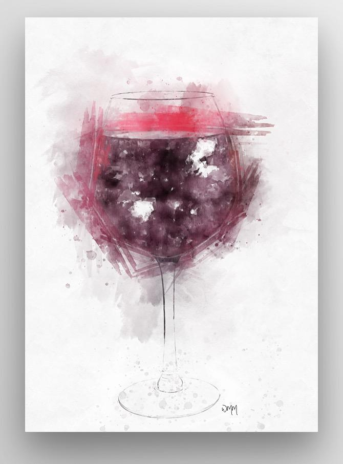 Woolly Mammoth Media Red Wine Glass Wall Art Print