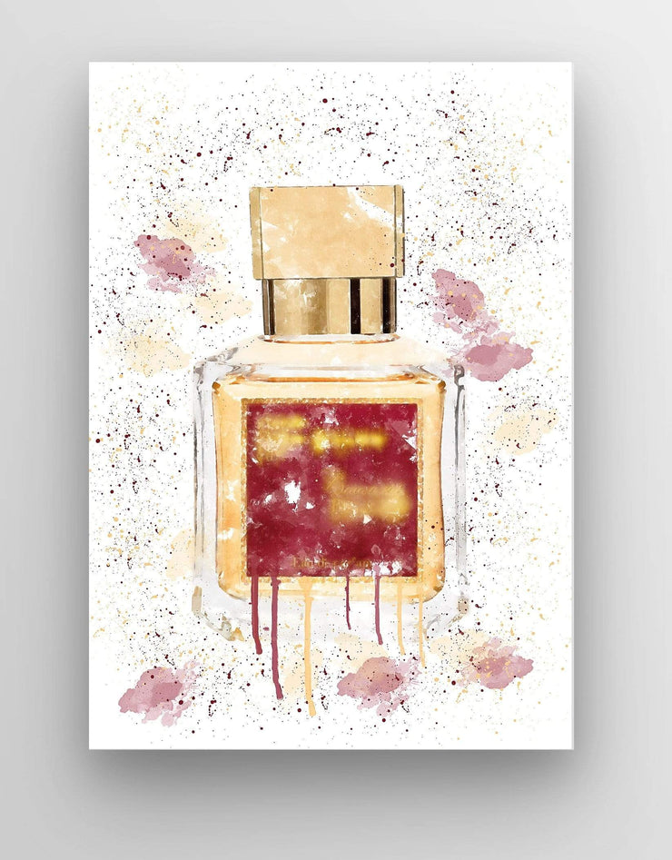 "Woolly Mammoth Media 30x20"" Canvas Rouge Perfume Bottle Splatter Wall Art Print"