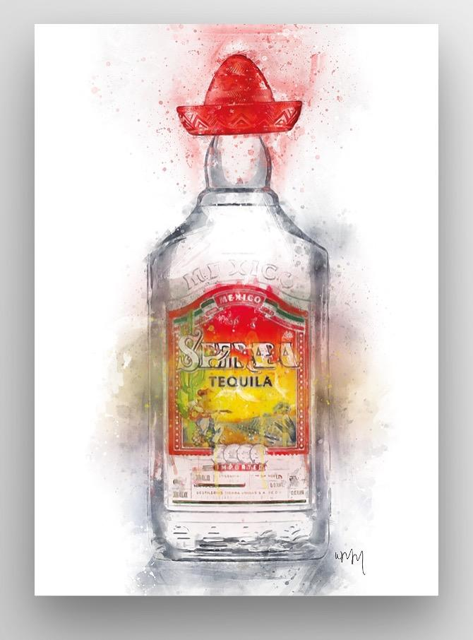 "Woolly Mammoth Media 30x20"" Canvas Tequila Bottle Wall Art Print"