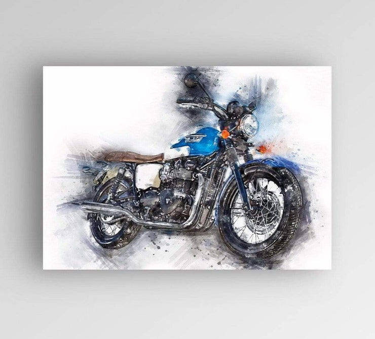 "Woolly Mammoth Media 30x20"" Canvas Triumph Motorcycle Classic Wall Art Print"