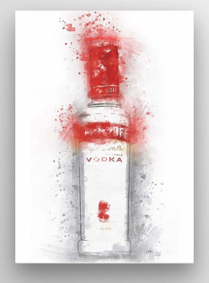 "Woolly Mammoth Media 30x20"" Canvas Vodka Bottle Splatter Wall Art Print 