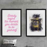 Woolly Mammoth Media Beauty Begins with yourself Set of 2 wall art prints