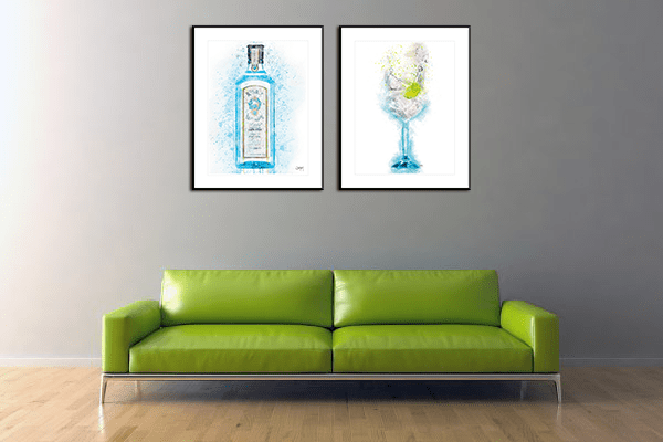 Woolly Mammoth Media Blue Gin Bottle Splatter Art Home Interior Wall Print