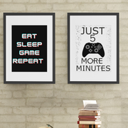 Woolly Mammoth Media EAT SLEEP GAME REPEAT wall art set of 2