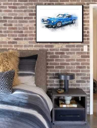 Woolly Mammoth Media Ford Shelby Mustang GT500 Wall Art Print Muscle Car
