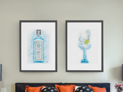 Woolly Mammoth Media Gin and Tonic + Bombay Gin Bottle Set of 2 Splatter wall art prints