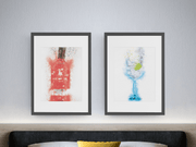 Gin Bottle & Gin Glass set of 2 wall art prints Gin Bottle & Gin Glass set of 2 wall art prints