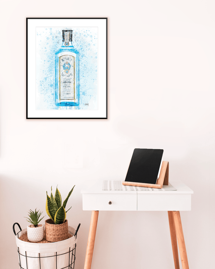 Woolly Mammoth Media Gin Bottle Wall Art Print 'Bombay Blue' Splatter Art