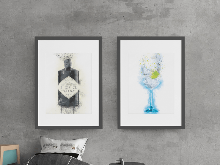 Woolly Mammoth Media Hendricks and Gin Glass set of 2 Splatter wall art prints