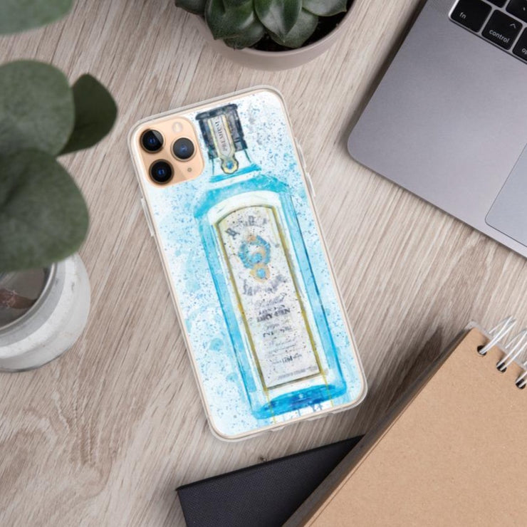 Woolly Mammoth Media iPhone 11 Pro Max Blue Gin Bottle Splatter Art iPhone Stylish Case Cover