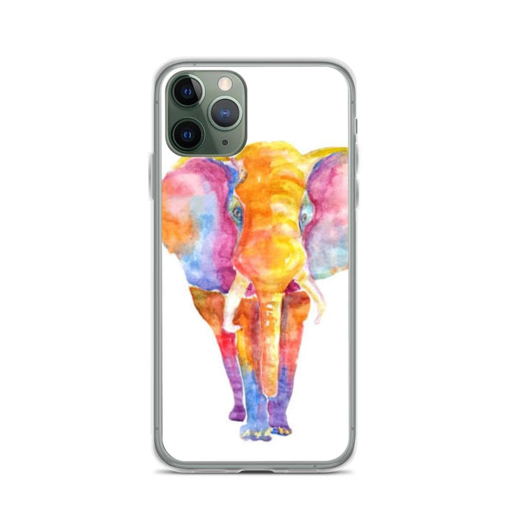 Woolly Mammoth Media iPhone 11 Pro Vibrant Elephant colourful Art iPhone Case Cover Animal Wildlife