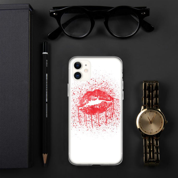 Woolly Mammoth Media iPhone 11 Red Lips Splatter Lipstick iPhone Case Cover