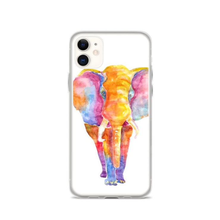 Woolly Mammoth Media iPhone 11 Vibrant Elephant colourful Art iPhone Case Cover Animal Wildlife