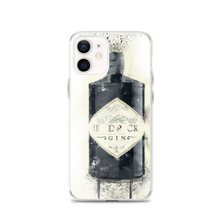 Woolly Mammoth Media iPhone 12 Black Gin Bottle iPhone Case - Hendricks Inspired