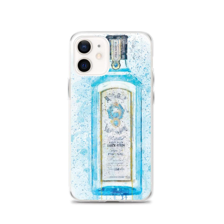 Woolly Mammoth Media iPhone 12 Blue Gin Bottle Splatter Art iPhone Stylish Case Cover