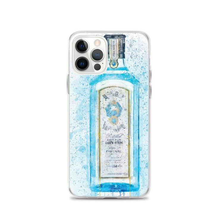 Woolly Mammoth Media iPhone 12 Pro Blue Gin Bottle Splatter Art iPhone Stylish Case Cover