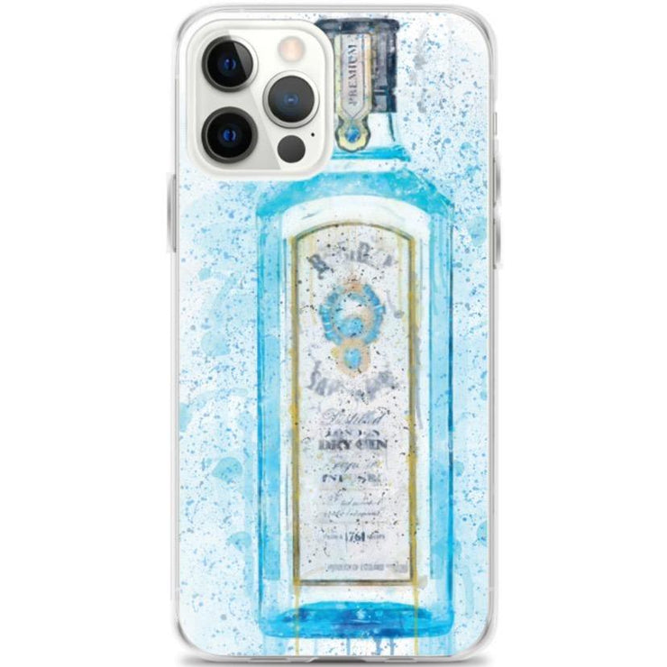 Woolly Mammoth Media iPhone 12 Pro Max Blue Gin Bottle Splatter Art iPhone Stylish Case Cover