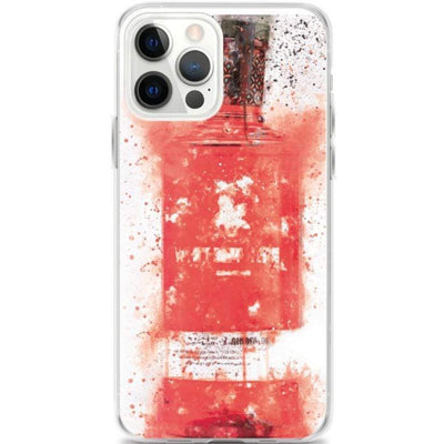 Woolly Mammoth Media iPhone 12 Pro Max Raspberry Red Gin Bottle Splatter Art iPhone Case Cover