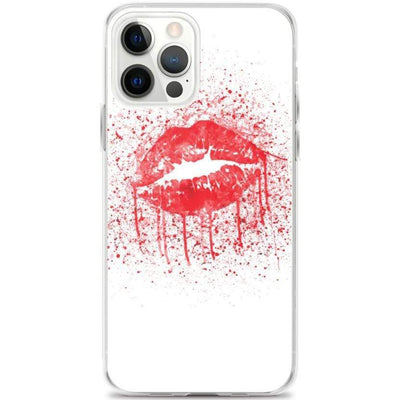 Woolly Mammoth Media iPhone 12 Pro Max Red Lips Splatter Lipstick iPhone Case Cover
