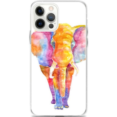 Woolly Mammoth Media iPhone 12 Pro Max Vibrant Elephant colourful Art iPhone Case Cover Animal Wildlife