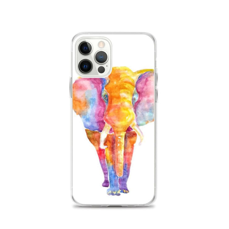 Woolly Mammoth Media iPhone 12 Pro Vibrant Elephant colourful Art iPhone Case Cover Animal Wildlife