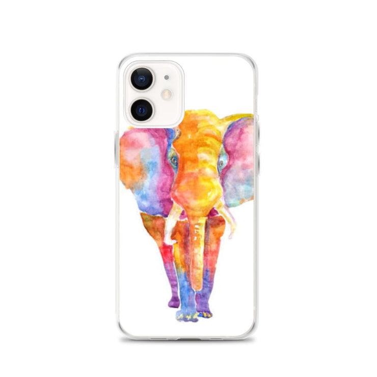 Woolly Mammoth Media iPhone 12 Vibrant Elephant colourful Art iPhone Case Cover Animal Wildlife