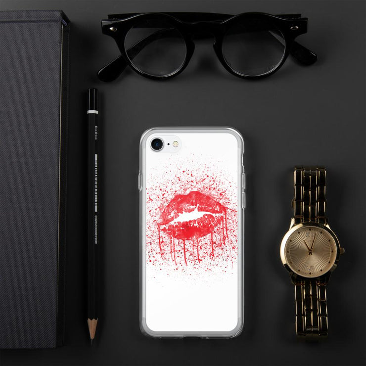Woolly Mammoth Media iPhone 7/8 Red Lips Splatter Lipstick iPhone Case Cover