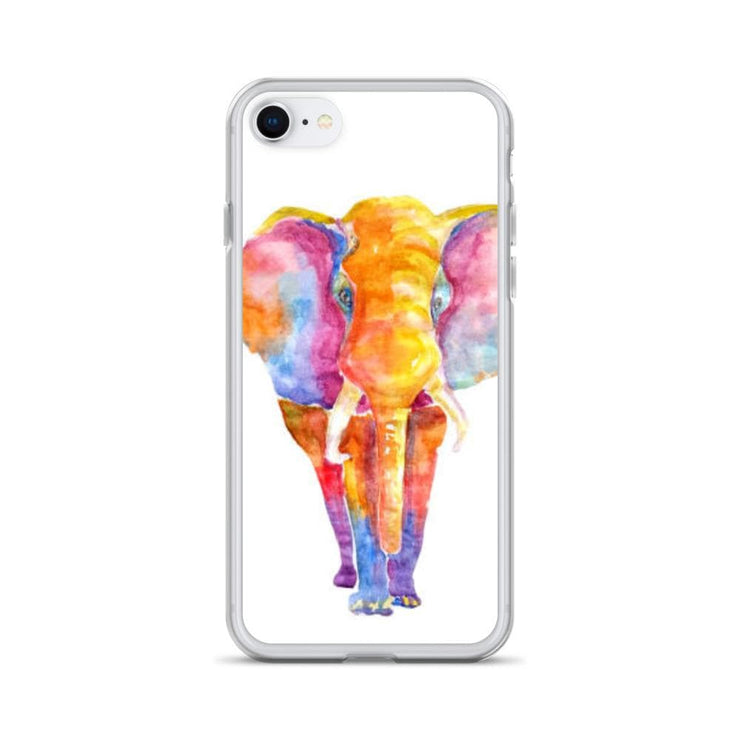 Woolly Mammoth Media iPhone 7/8 Vibrant Elephant colourful Art iPhone Case Cover Animal Wildlife