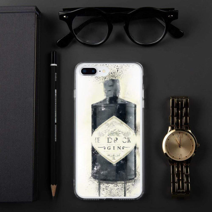 Woolly Mammoth Media iPhone 7 Plus/8 Plus Black Gin Bottle iPhone Case - Hendricks Inspired