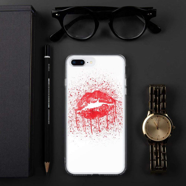 Woolly Mammoth Media iPhone 7 Plus/8 Plus Red Lips Splatter Lipstick iPhone Case Cover