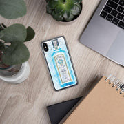 Woolly Mammoth Media iPhone X/XS Blue Gin Bottle Splatter Art iPhone Stylish Case Cover