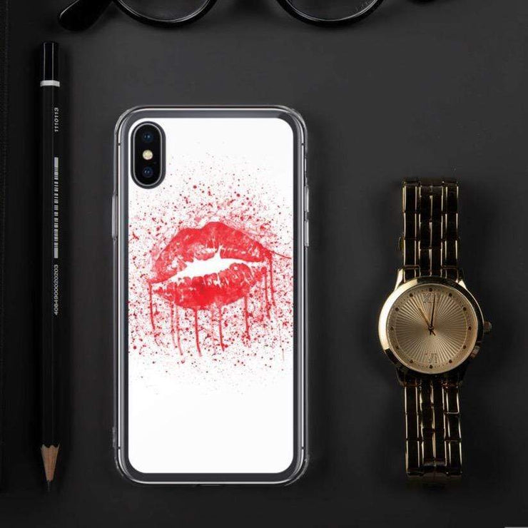 Woolly Mammoth Media iPhone X/XS Red Lips Splatter Lipstick iPhone Case Cover