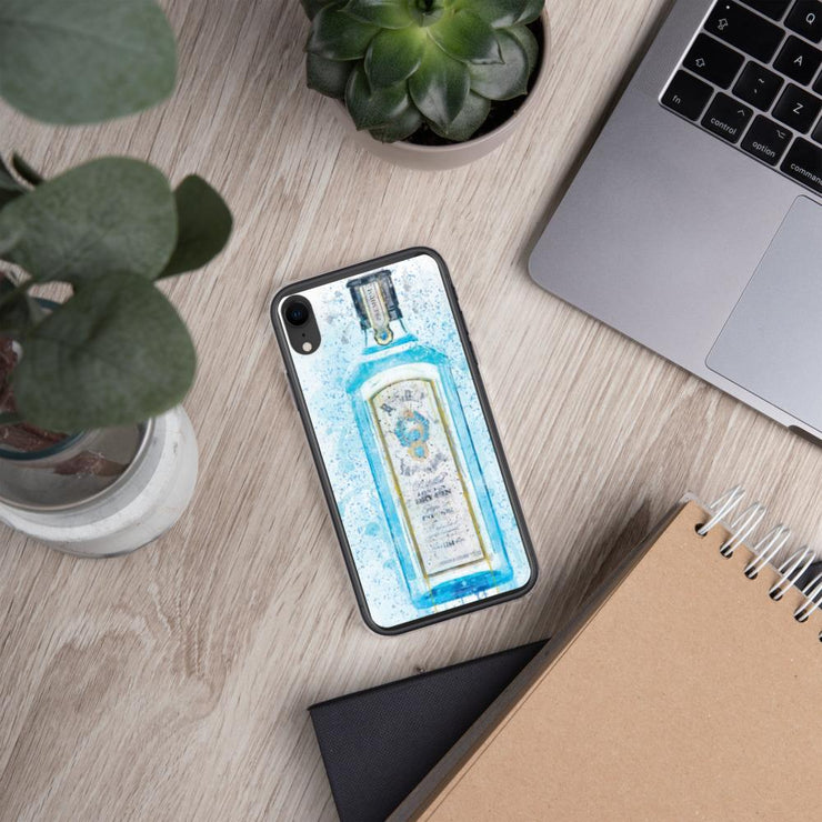 Woolly Mammoth Media iPhone XR Blue Gin Bottle Splatter Art iPhone Stylish Case Cover