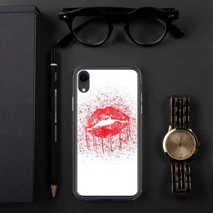 Woolly Mammoth Media iPhone XR Red Lips Splatter Lipstick iPhone Case Cover