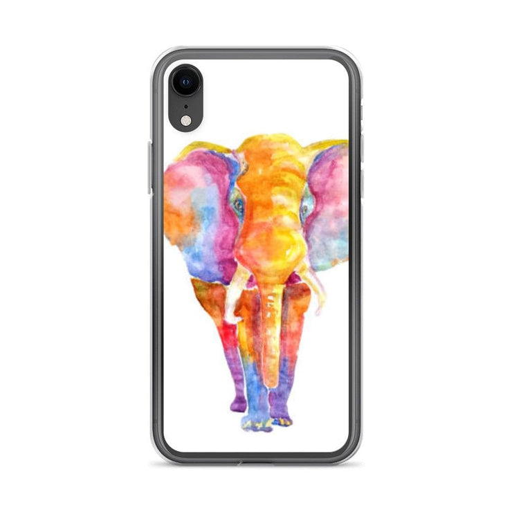 Woolly Mammoth Media iPhone XR Vibrant Elephant colourful Art iPhone Case Cover Animal Wildlife