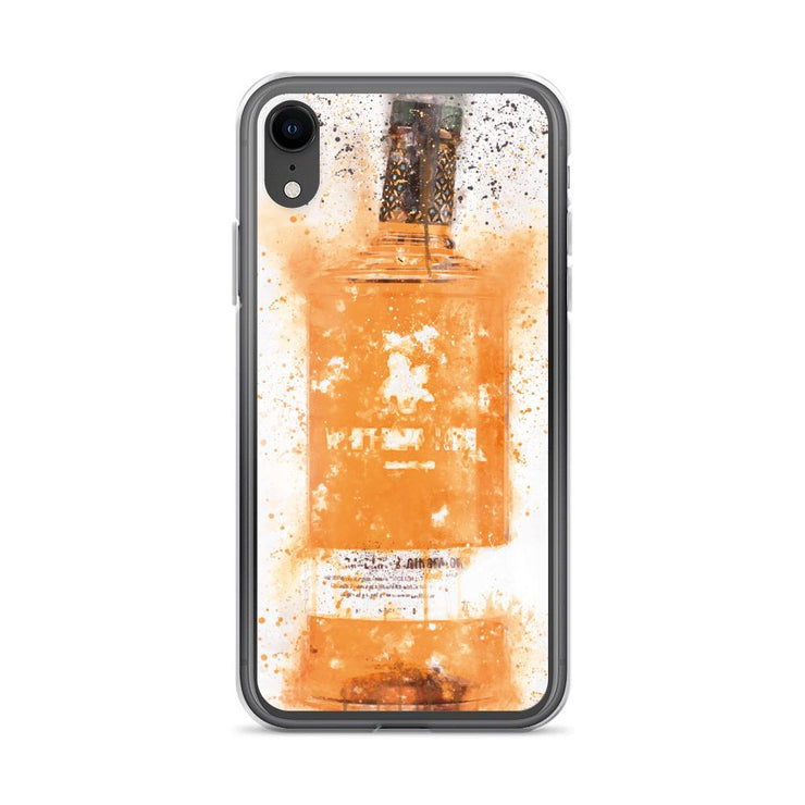 Woolly Mammoth Media iPhone XR Zesty Orange Gin Bottle Splatter Art iPhone Case
